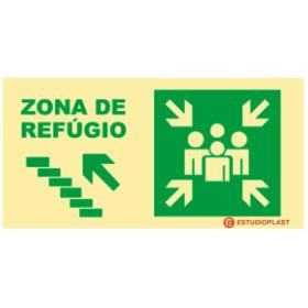 sinalética Fotoluminescente Saída de Emergência Sinalização Segurança   Sinal de zona de refúgio subir à esquerda
