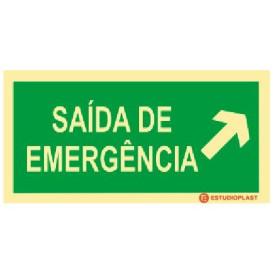 Sinalética Fotoluminescente|Saída de Emergência|Sinalização Segurança|Sinal de Saída de emergência subir à Direita