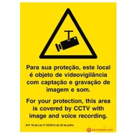 Sinal para locais sob videovigilância, Português inglês