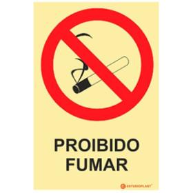 Sinalética Fotoluminescente|Saída de Emergência|Sinalização proibição|Sinal de proibição, Proibido Fumar com descrição