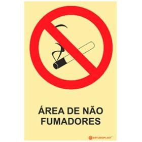 Sinalética Fotoluminescente|Saída de Emergência|Sinalização proibição|Sinal de proibição, Proibido Área de Não Fumadores