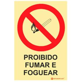Sinalética Fotoluminescente|Saída de Emergência|Sinalização proibição | Sinal de proibição, Proibido Fumar e Foguear