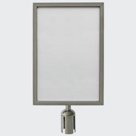 Porta Cartaz p/ Barreira cromado A4 vertical