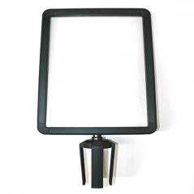 Porta Cartaz Preto Plástico A4 Vertical |Porta Cartaz para postes com fita extensível|barreiras direcionais|Baias Separadoras